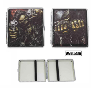 Skull Designs Cigarette Hard Case Tobacco Storage - Best Bongs And More