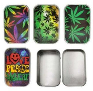 Metal Leaves Stash Storage Tin - Best Bongs And More