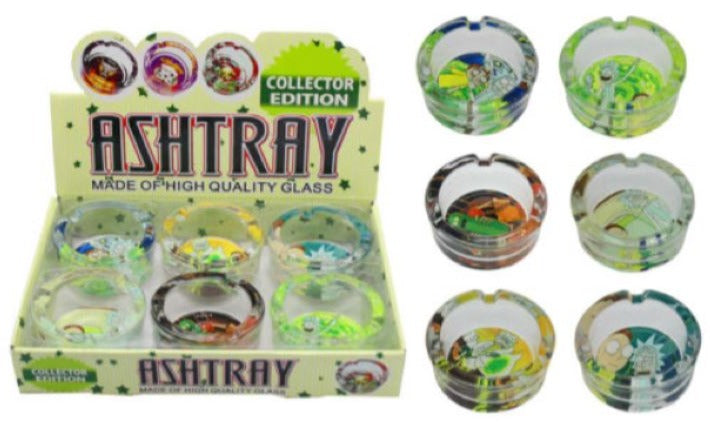 Rick And Morty Designs Round Glass Ashtray 2 PACK