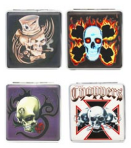 Assorted Skull Designs Cigarette Hard Case Tobacco Storage - Best Bongs And More