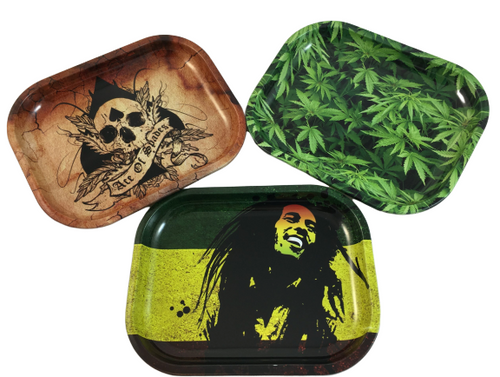 Assorted Designs Metal Rolling Trays - Best Bongs And More