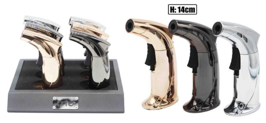 Premium Metallic Single Blow Torch Refillable Jet Lighter - Best Bongs And More