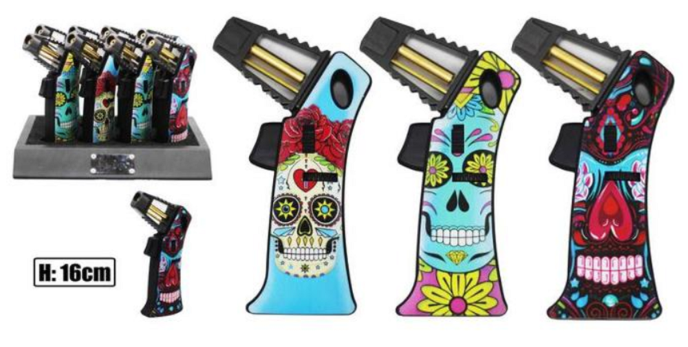 Premium Rocket Flame Candy Skull Refillable Jet Lighter - Best Bongs And More