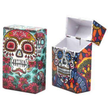 Candy Skull Designs Plastic Cigarette Cases 2 Pack - Best Bongs And More