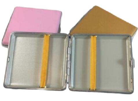 Coloured Leather Cigarette Hard Case Tobacco Storage