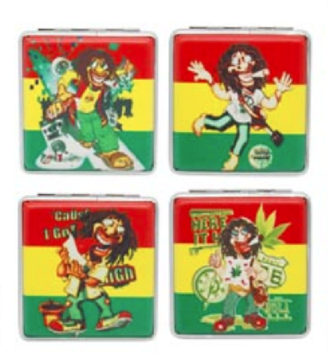 Assorted Rasta Designs Cigarette Hard Case Tobacco Storage - Best Bongs And More