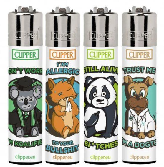 Clipper Large Animal Sentences Refillable Lighters 4 Pack - Best Bongs And More