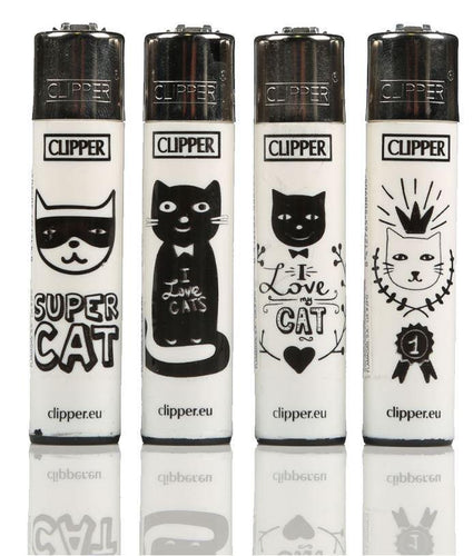 Clipper Large Cats Lighters Refillable 4 Pack - Best Bongs And More