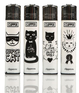 Clipper Large Cats Lighters Refillable 4 Pack