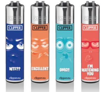 Clipper Large Emoticons Refillable Lighters 4 Pack