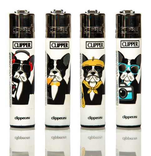 Clipper Large Bulldog Refillable Lighters 4 Pack - Best Bongs And More