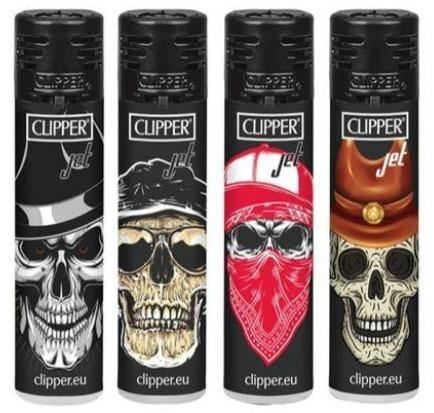 Clipper Large Skulls Refillable Jet Lighters 4 Pack - Best Bongs And More
