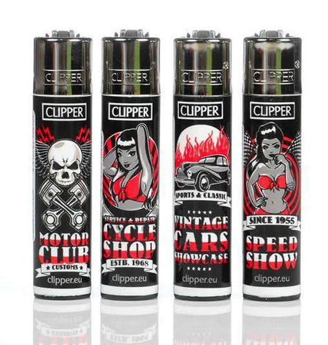 Clipper Large Motor Garage Refillable Lighters 4 Pack - Best Bongs And More