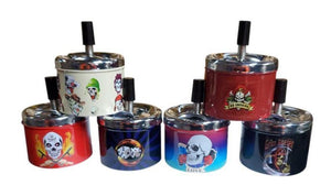 Skulls Designs Metal Spinning Ashtrays - Best Bongs And More