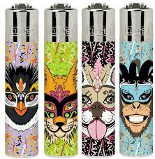 Clipper Small Carnival Animals Lighters Refillable 4 Pack - Best Bongs And More
