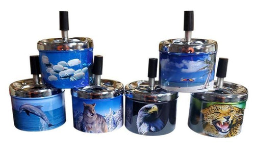 Animal Designs Metal Spinning Ashtrays - Best Bongs And More