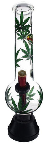 MWP Large Green Leaf Glass Bong 30cm - Best Bongs And More