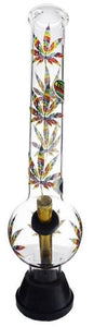 MWP Extra Large Colourful Leaf Glass Bong 36.5cm - Best Bongs And More