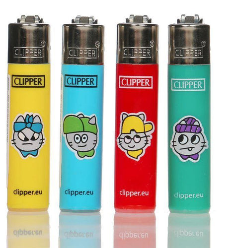 Clipper Small Urban Cats Refillable Lighters 4 Pack - Best Bongs And More