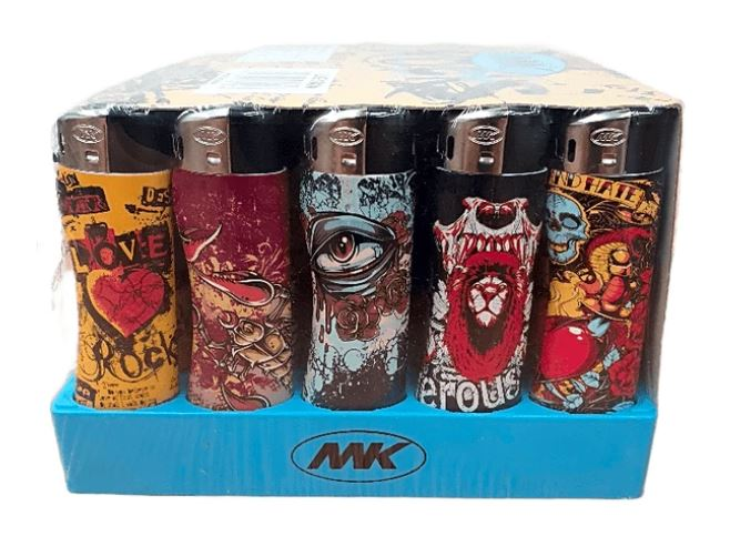 Assorted Designs Refillable Lighters 5 Pack
