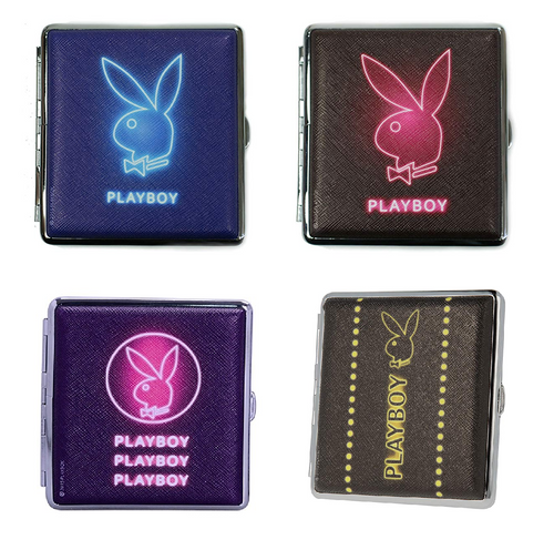 Playboy Neon Glow Designs Cigarette Hard Case Tobacco Storage - Best Bongs And More