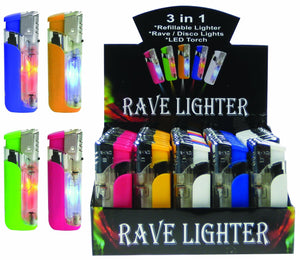 Rave Disco LED Lights Windproof Lighters Refillable 5 Pack - Best Bongs And More