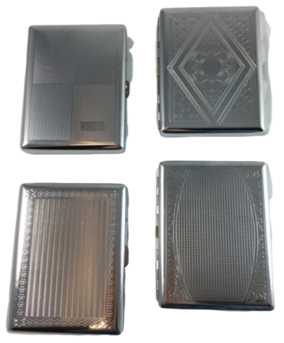 Rectangular Silver Designs Cigarette Hard Case Tobacco Storage - Best Bongs And More