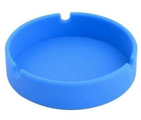 Blue Round Silicone Shatterproof Ashtray - Best Bongs And More