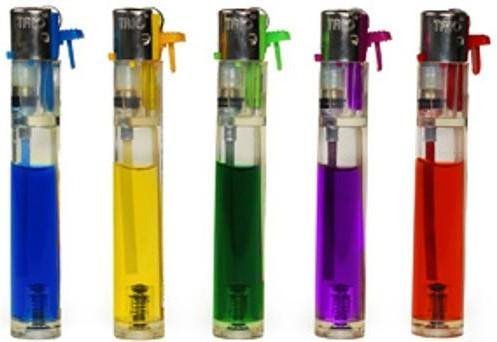 Coloured Large Slimline Lighters Refillable 5 Pack - Best Bongs And More