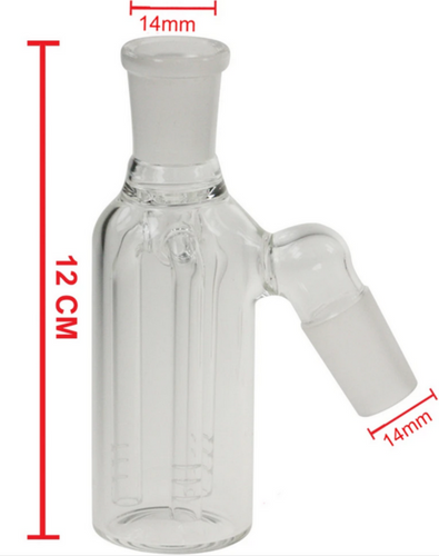 Clear Triple Fork Tar Catcher Chamber 14mm - Best Bongs And More