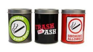 Assorted Designs Tin Ashtrays 2 PACK