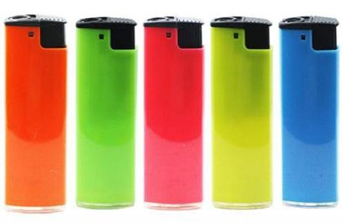 Fluro Coloured Windproof Lighters Refillable 5 Pack - Best Bongs And More
