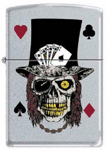 Genuine Zippo Skull With Top Hat & Cards Windproof Refillable Lighter - Best Bongs And More
