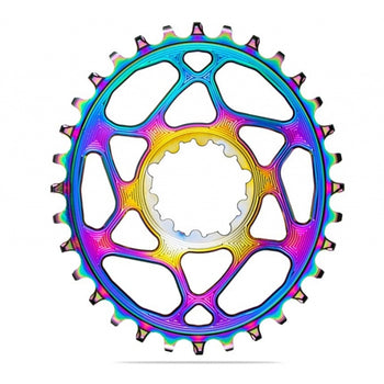 Absolute Black MTB Oval Shimano 12-Speed DM Rainbow Chainring - 3mm Offset