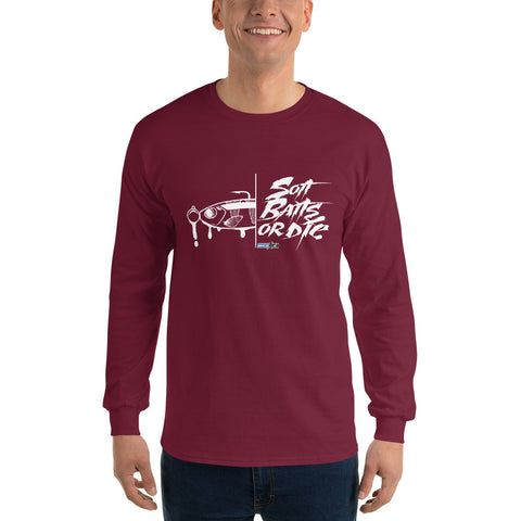 Soft Baits or Die (Long-Sleeve Graphic T-Shirt)