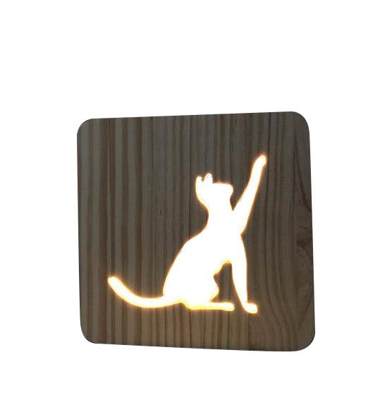 Lampe de Chevet Bois Chat | LumiDreams