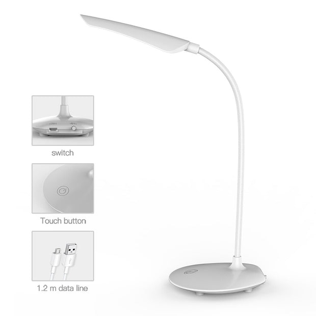 Lampe de Chevet Tactile à LED Dimmable Blanche Cobra