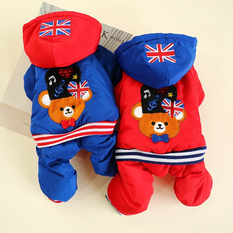 Pet Dog Clothes Winter Teddy Legs Thick Warm Cotton-padded  Puppy Cat Hoodies Outfit Jacket Clothing for Dogs Pets