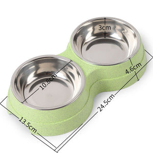 Pet Dog Duble Bowl Kitten Food Water Feefer Stainless Steel Small Dogs Cats Drinking Dish Feeder for Pet Supplies Feeding Bowls