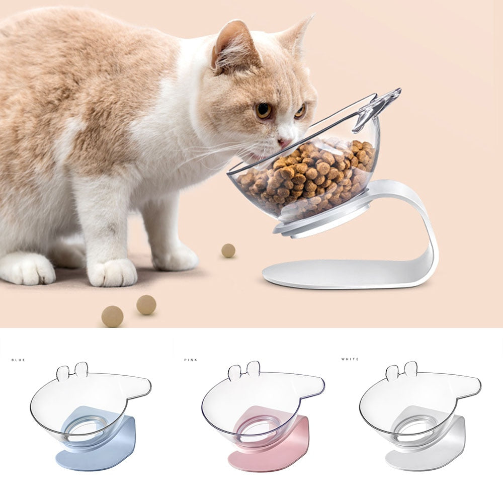 Non-Slip Single Cat Bowl With Raised Stand Transparent Dog Bowls Pet Feeder Cartoon Cat Food Bowl Cat Feeding Protect Pet's Neck