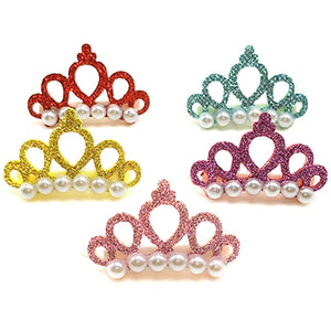 5pcs Small Dogs Faux Pearl Crown Shape Bows Hair Yorkshire Accessories For Pets Hair Clips Grooming Cat Bows Pet Accessoires