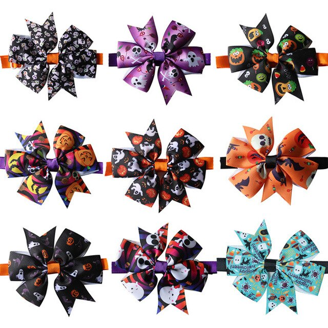 10 Pcs Pet Accessoires Halloween Design Pet Puppy Dog Bow Tie Adjustable Dog Collar Size Pet Grooming Product Dog Bowtie