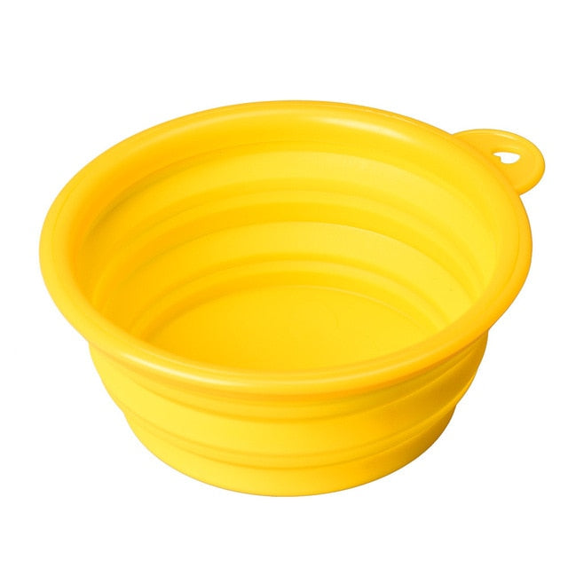 A Multi-purpose Dog Cat Pet Silicone Collapsible Travel Feeding Bowl Water Dish Feeder Flexible Telescopic Hot Puppy Feeding Bow