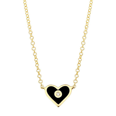 Heart Enamel Diamond Necklace by Kury - Available at SHOPKURY.COM. Free Shipping on orders over $200. Trusted jewelers since 1965, from San Juan, Puerto Rico.