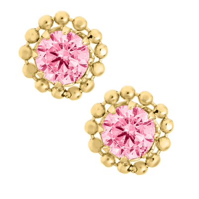 Pink Kids Stud Earrings by Kury - Available at SHOPKURY.COM. Free Shipping on orders over $200. Trusted jewelers since 1965, from San Juan, Puerto Rico.