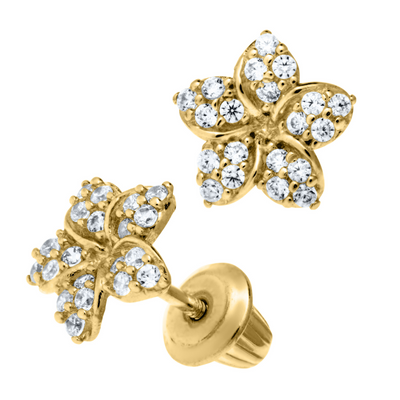 Flower CZ Stud Earrings 14K by Kury - Available at SHOPKURY.COM. Free Shipping on orders over $200. Trusted jewelers since 1965, from San Juan, Puerto Rico.