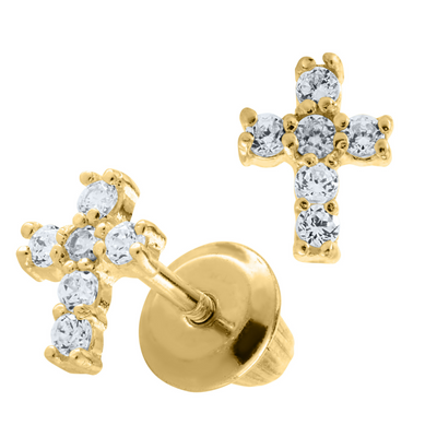 Zirconia Cross Stud Earrings 14K by Kury - Available at SHOPKURY.COM. Free Shipping on orders over $200. Trusted jewelers since 1965, from San Juan, Puerto Rico.