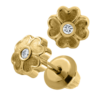 Clover Flower Stud Earrings 14K by Kury - Available at SHOPKURY.COM. Free Shipping on orders over $200. Trusted jewelers since 1965, from San Juan, Puerto Rico.