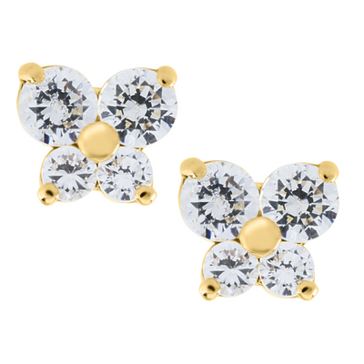Bluttefly Zirconia Stud Earrings 14K by Kury - Available at SHOPKURY.COM. Free Shipping on orders over $200. Trusted jewelers since 1965, from San Juan, Puerto Rico.