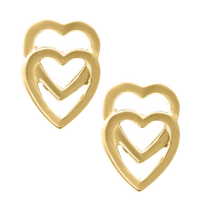 Double Heart 14K Stud Earrings by Kury - Available at SHOPKURY.COM. Free Shipping on orders over $200. Trusted jewelers since 1965, from San Juan, Puerto Rico.